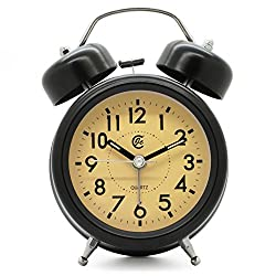 JCC 3 Black Retro Arabic Numerals Dial Twin bell Silent non ticking sweep second hand bedside alarm clock with Nightlight and Loud Alarm