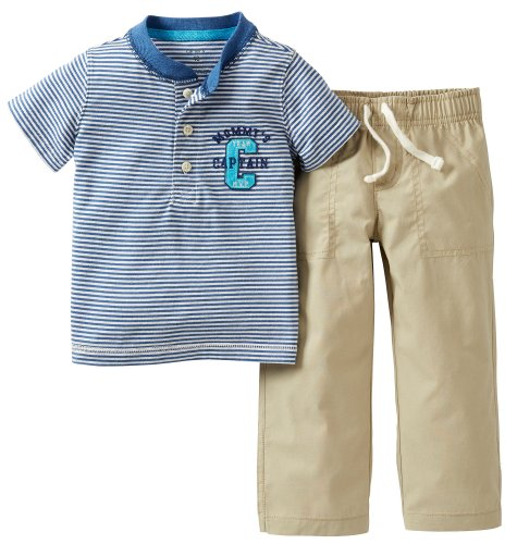 Carters Baby Boy Mommy'S Captain Top & Pant Set Blue/Beige 12 Mo front-170918