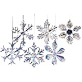 "Kurt Adler 2"" Glass Iridescent Snowflake Ornaments, 12-Piece Set"