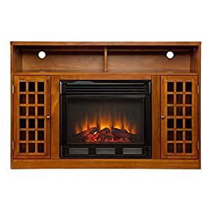 Media Glazed Pine Electric Fireplace Flat Screen Tv Stand Home Kitchen