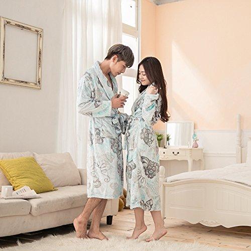 X&L Inverno spessore lungo manica biancheria da notte pigiama uomo e donna accappatoio yukata , butterfly flower , l