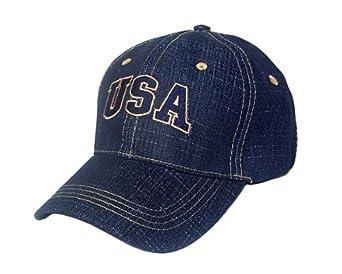 Denim Blue Jeans Style Usa Baseball Hat at Amazon Women's Clothing