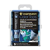 Chameleon Art Products Chameleon Color Tops, Blue Tones 5-Pen Set