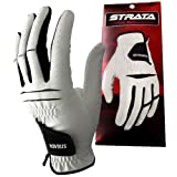 Strata Tech Men's Synthetic Leather Golf Glove - Style: EV-827, Color: White With Black Trim, Reg - Left, Size: L