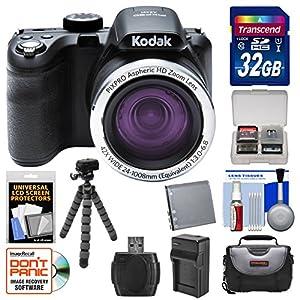 Kodak PixPro AZ421 Astro Zoom Digital Camera with 32GB Card + Case + Battery/Charger + Flex Tripod + Kit