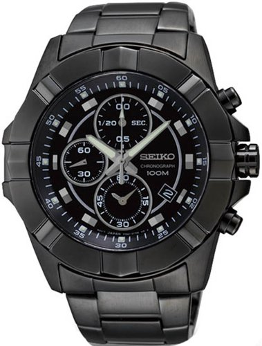 Seiko Black Dial Chronograph Black Pvd Stainless Steel Mens Watch Sndd77