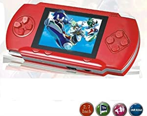 "WolVol DARK RED 2.8"" LCD Portable Game Console With AV-Out And TONS of Built-In Games, Game Disk Included - Best Gift for Kids"