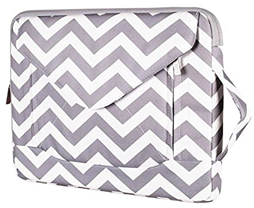 05. Mosiso Laptop Shoulder Bag / Sleeve Briefcase, Envelope Chevron Style Canvas Fabric Carrying Case for 12.9 iPad Pro / 13.3 Inch Laptop