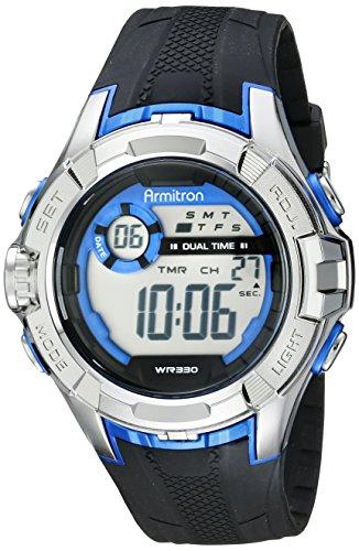 Armitron Men's 40/8351BLU Blue Accented Digital Chronograph Black Resin Strap Watch