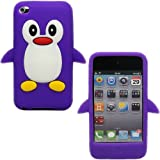 Sleek Gadgets - Purple White Cute Penguin Design Case Cover Shell for Apple iPod Touch 4th Generation, 4G, 8gb, 16gb, 32gb with Facetime Camera