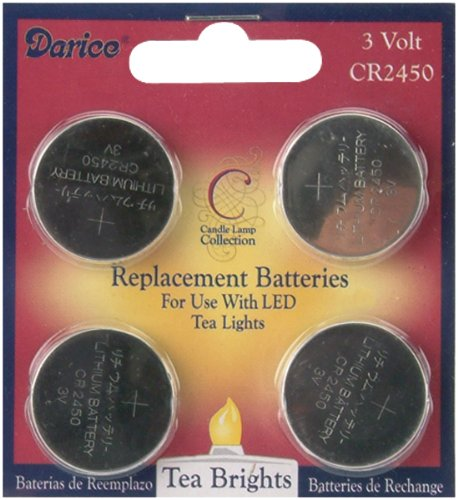 Darice 6201-91 Led Tea Lights Replacement Batteries, 4-Pack