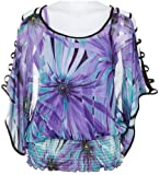 51Uzr7KDtEL. SL160  Misses Halo Strapped Cold Shoulder Floral Top
