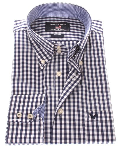 Bots & Bots Mens Shirt Cotton Casual Normal Fit Art. 1043 (M, Dark Blue-White)