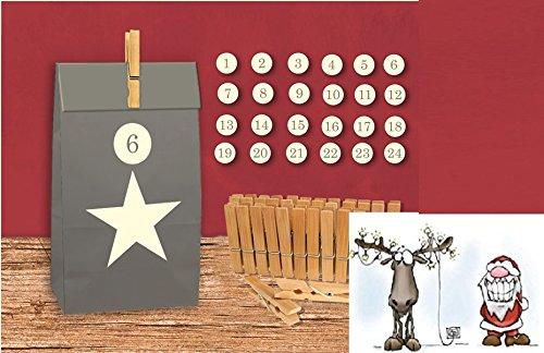 diy adventskalender set zum basteln stern zum selber f llen postkarte santa eric. Black Bedroom Furniture Sets. Home Design Ideas