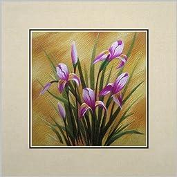 Susho, King Silk Art 100% Handmade Suzhou Silk Embroidery - Blue Flower - White Mat, No Frame 36161W