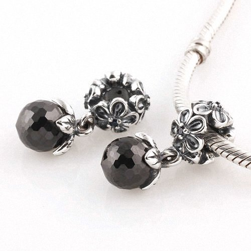 Taotaohas-(1Pc) Oxidized Antique Authentic 100% Solid Sterling 925 Silver Threaded Charm Beads Dangle, [ Name: Garden Odyssey, Stone Color: Jet Black ], With Crystal Czech Rhinestone, Fit European Bracelets Necklaces Chains, Troll, Biagi Glass Charm Beads