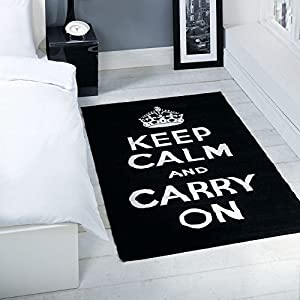 Matrix Keep Calm And Carry On Princess Rugs Blue Red Black Pink Girls Boys Modern Retro Funky British Royal Rug by Abbey-Carpets