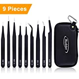 Mudder 9 Pieces Anti-static ESD Tweezers with Non-magnetic Tips for Electronics, Jewelry-making