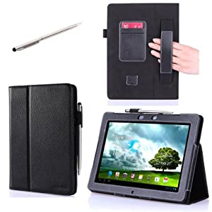 i-BLASON Asus Memo Pad Smart 10'' ME301T Leather Case Cover (Elastic Hand Strap, Multi-Angle, Card Holder ) With Bonus Stylus (Multi-Color to Choose From) 3 Year Warranty (Black)
