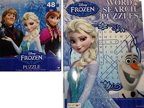 Disney Frozen Princess Anna and Elsa 48 Piece Puzzle and Word Search Combo Set