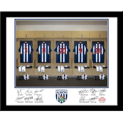 Personalised West Brom dressing room photo, Special West Brom gift idea, West Brom football gift idea