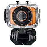 MAYMOC Sports Action Cam Camcorder Helmet Cameras 720P HD Waterproof 2 Inch Touch Screen with 8G TF Memory Card (orange)