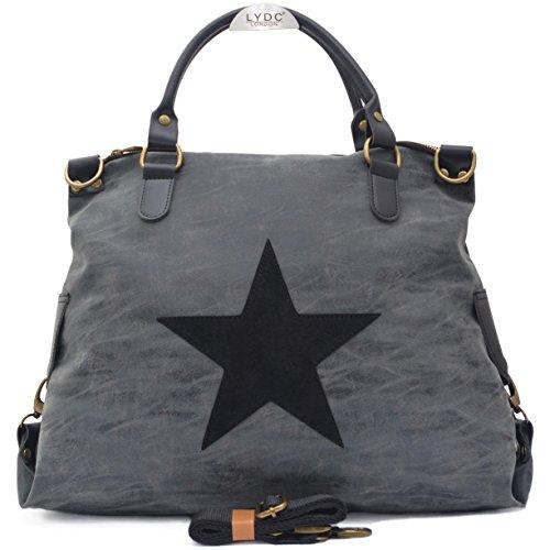 Vain-Secrets-Sternen-Shopper-Damen-Handtasche-mit-Schulterriemen-Washed-PU-Black