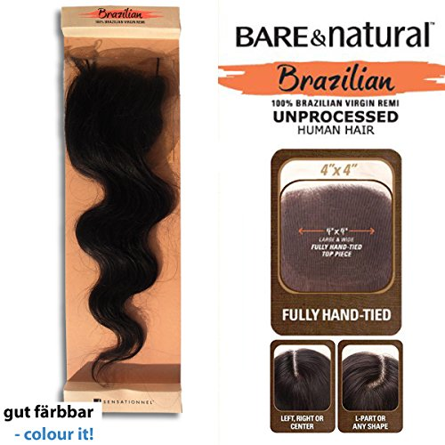 Bare & Natural Unprocessed Brazilian Remi Hair Top Piece - FULL LACE CLOSURE - Natural Body 12 (Natural) by Sensationnel