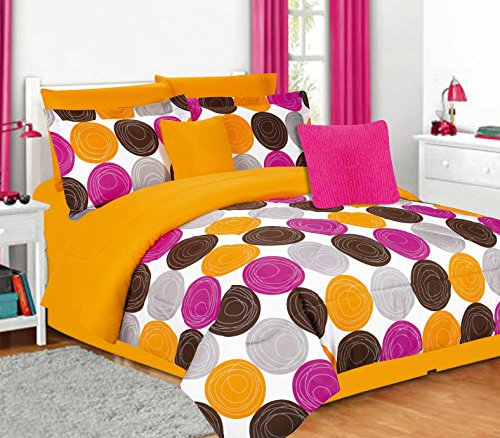 Jacky Modern Circles Comforter Set - Full / Queen, Pink/Atomic Orange