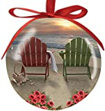 Adirondack Chairs and Hibiscus on the Beach, Basket of Shells High Gloss Resin Christmas Ornament