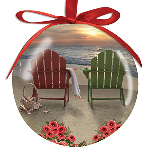 Adirondack-Chairs-and-Hibiscus-on-the-Beach-Basket-of-Shells-High-Gloss-Resin-Christmas-Ornament