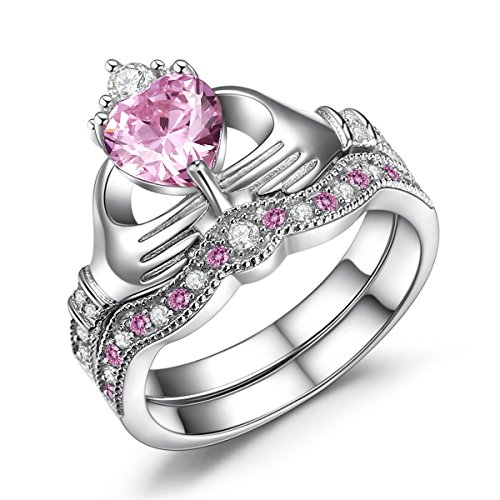 Caperci Sterling Silver Claddagh Ring, Heart Shape Created Pink Sapphire Wedding Engagement Ring Set