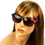 Wayfarer Ribbon Bow Kitty Animal Print Smoke Lens Sunglasses Glasses Blk Magenta Reviews