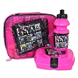 Monster High Pack Lunch Bag Set - Keep Cool Bag, Sandwich Box, Sports Drink Bottle and exclusive Keyring - Back To School