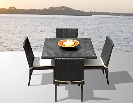Outdoor Patio Wicker Furniture New Resin 5-Piece Square Dining Table & Chairs Set