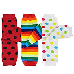 Bowbear Baby 3-Pair Leg Warmers, Polka Dots and Rainbow Stripes