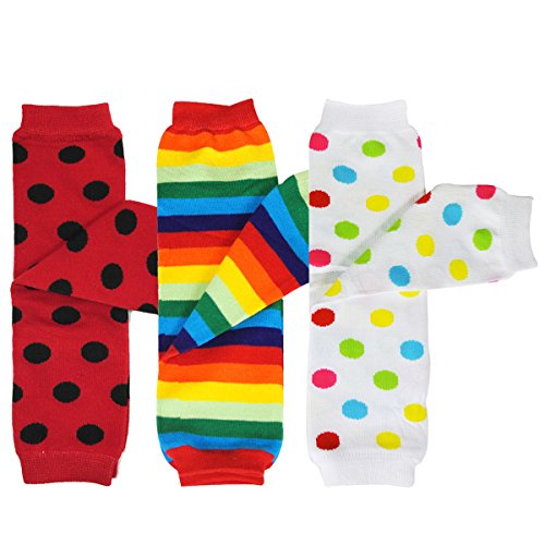 Bowbear Baby 3-Pair Leg Warmers, Polka Dots and Rainbow Stripes