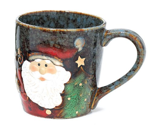 Santa Yuletide Christmas 18 oz Coffee Mug Porcelain Cup with Marbleized Look