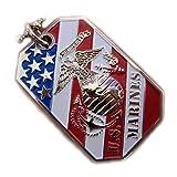 USMC MARINE CORPS EGA CREST FLAG PENDANT DOG TAG BALL CHAIN NECKLACE SEMPER FI