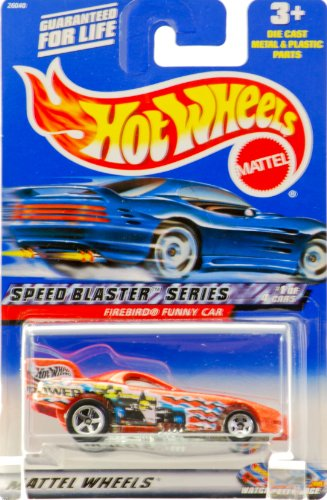2000 - Mattel - Hot Wheels - Speed Blaster Series #1 of 4 - Firebird Funny Car (Metallic Orange) Racing Graphics - 5 Spoke Wheels - Collector #037 -New - Out of Production - Limited Edition - Collectible - 1