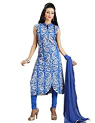 Sharmili Womens Chanderi Fabric Ready-To-Wear Straight Embroidered Salwar Suit