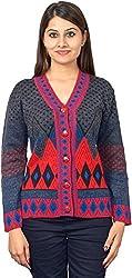 KTC Women's Wool Regular Fit Cardigan (651-V01, Black, 38)