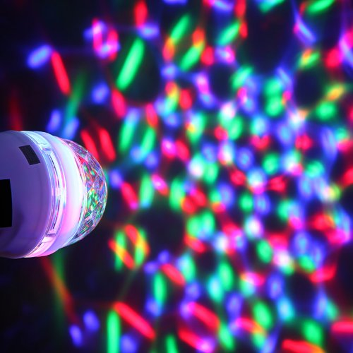 Kkmoon White Full Color Led Rgb Rotating Lamp With Remote Sound-Activated Stage Dj Light Bulb 3W E27 85-260V For Home Party,Bar,Club,Holiday,Show,Karaoke,Christmas(Multi Changing Color)