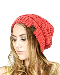 Trendy Warm Chunky Soft Stretch Cable Knit Slouchy Beanie Skully HAT20A, Coral