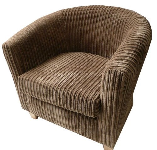 Luxury traditional shape Tub chair in camel brown jumbo cord made in the UK