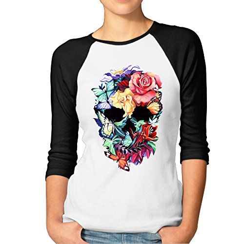 SAXON13 Women's Fashion Flowers Skull Raglan T-Shirt (Flower Toaster compare prices)