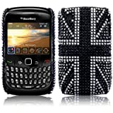 Blackberry Curve 8520 Black Union Jack Diamante Case / Cover / Shell / Shield Part Of The Qubits Accessories Rangeby Qubits