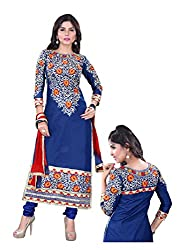 Shayona Women's Faux Georgette Unstitched Dress Material (AS433D76_Blue_Free Size)