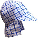 N'Ice Caps Baby Boys Checkered Seersucker Safari Sun Hat (6-9 months, Royal/Light Blue/White)