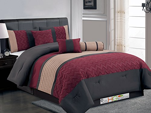 7-Pc Quilted Chevron Zigzag Pleated Stripe Comforter Set Burgundy Brown Coffee Queen